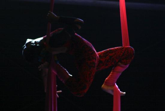 Artista usando tecido acrobático - Imagem: Arquivo