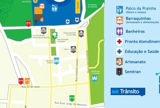 Mapa da Festa da Penha - Imagem: Semcom