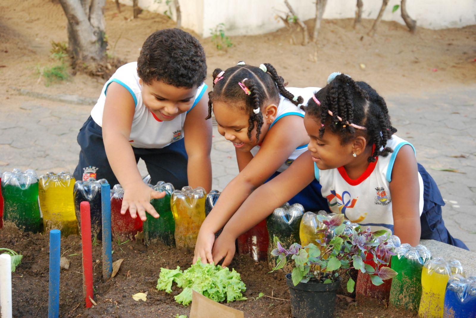 A horta incentiva uma alimentação saudável