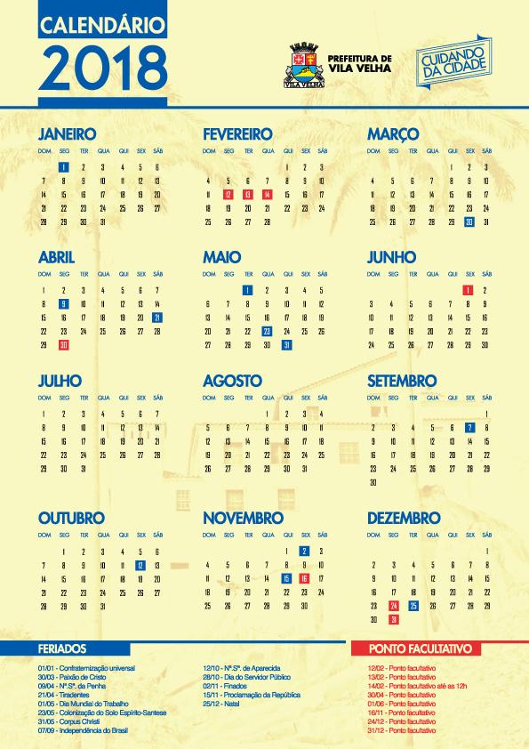 275a6e3ec Confira o calendário de feriados e pontos facultativos de 2018 em Vila Velha